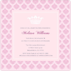 Pink Damask Girl Baby Shower Invitation Magnet