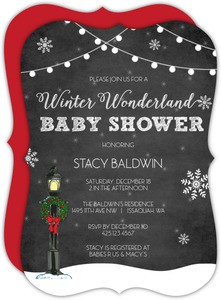 Enchanted Snowy Wonderland Baby Shower Invitation