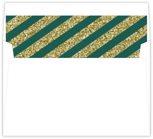 Emerald Green And Faux Gold Glitter Envelope Liner