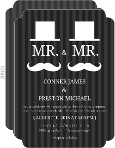 Mustache And Hat Gay Wedding Invitation