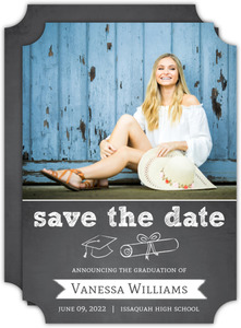 Cap And Diploma Graduation Save The Date Announcement