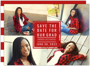 Bold Block Graduation Save the Date Card