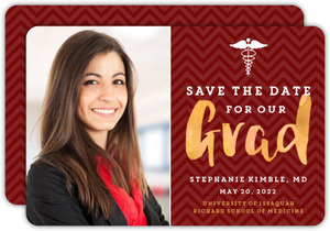 Red And Gold Chevron Graduation Save The Date