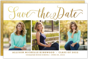 Triple Photo Horizontal Graduation Save The Date