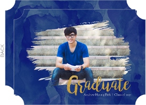 Blue Watercolor & Faux Gold Graduation Save The Date Card