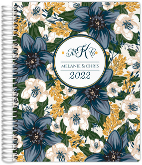 Beautiful Modern Blue Floral Wedding Planner