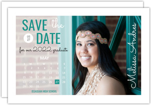 Teal Calendar Postcard Graduation Save the Date Announcement