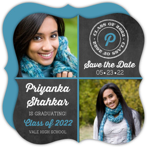 Chalkboard Grid Graduation Save the Date Card