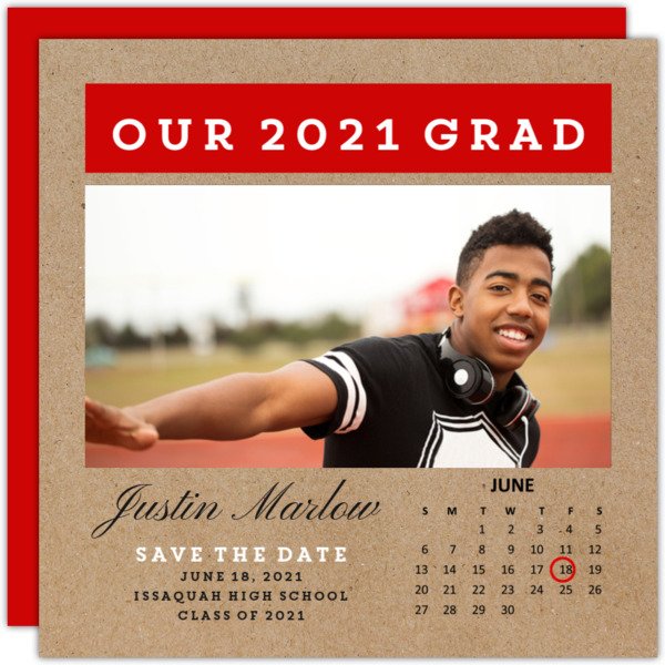 Simple Calendar Graduation Save the Date Announcement