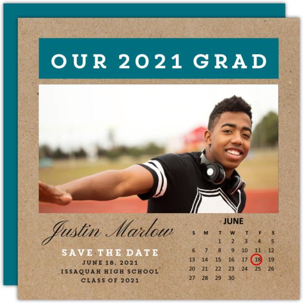 Simple Calendar Graduation Save the Date Announcement