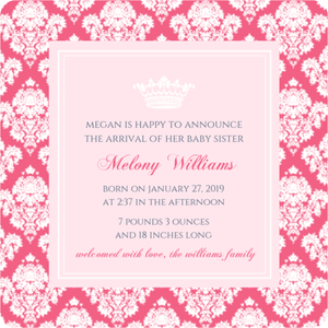 Royal Pink Princess Sibling Announcement Magnet