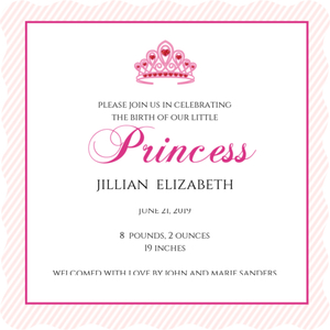Pink Princess Tiara Girl Baby Announcement Magnet