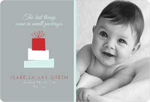Gray Stack Presents Photo Christmas Birth Announcement