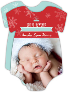 Red Blue Snowflakes Multiphoto Christmas Birth Announcement