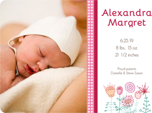 Sweet Pink Gingham Photo Girl Baby Announcement