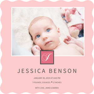 Pale Pink Monogram Photo Girl Baby Announcement Magnet