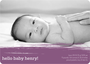 Plum Painterly Birth Announcement