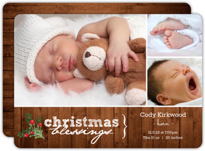 Woodgrain Holiday Birth Announcement