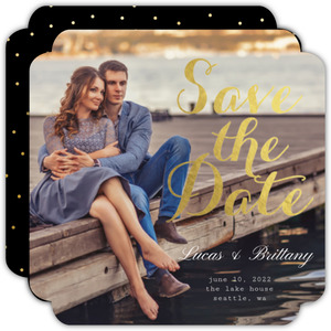 Elegant Gold Foil Save The Date Photo Card