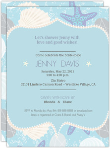 Seashells and Star Fish Briday Shower Invitation
