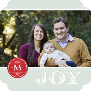 Red Monogram Stamp Christmas Photo Card