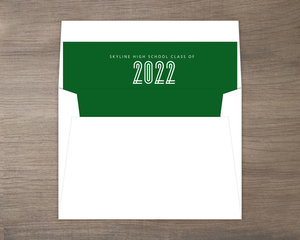 Simple Green Modern Lines Graduation Envelope Liner