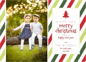 Red And Green Stripes Christmas Photo Cards Magnet