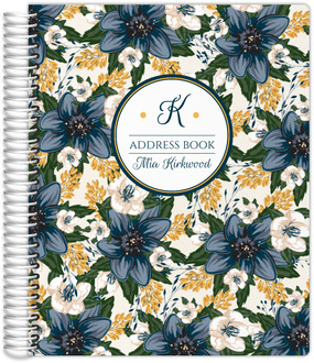 Beautiful Modern Blue Floral Address Book
