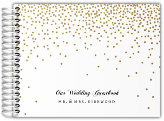 Golden Faux Glitter Confetti Wedding Guest Book