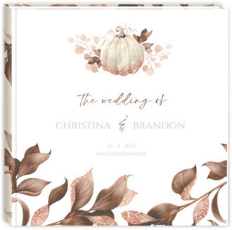 Faux Glitter Autumn Leaves Wedding Guest Book