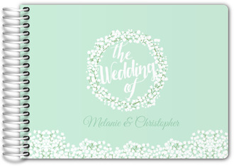Whimsical Mint Babys Breath Wedding Guest Book