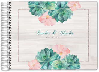 Whimsical Watercolor Succulents Wedding Guest Book