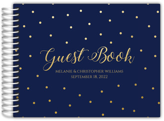 Navy and Gold Dots Wedding Guest Book