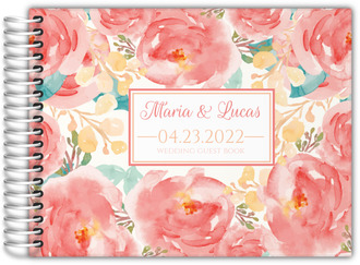 Pink Elegant Watercolor Flower Wedding Guest Book