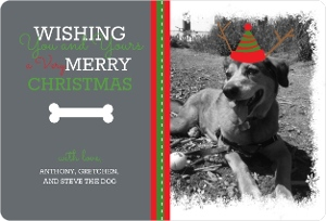 Dog Bone Christmas Photo Card Magnet