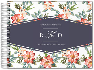 Delicate Watercolor Floral Wedding Guest Book