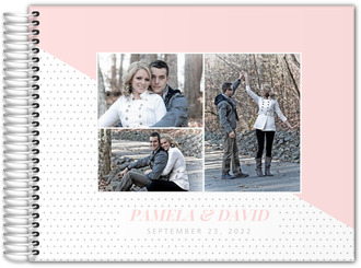 Soft Blush Polka Dot Photo Wedding Guest Book