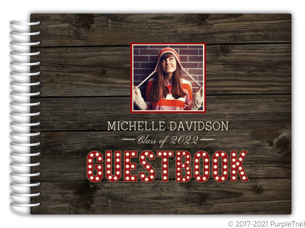 Rustic Wood Marquee Decor Graduation Guest Book