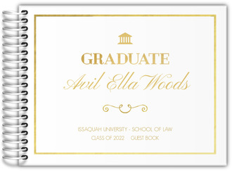 Faux Gold Foil Ampersand Graduation Guest Book