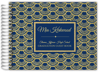 Blue and Faux Gold Glitter Graduation Guest Book