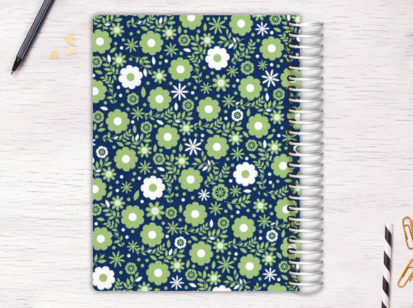 Green & White Floral Pattern Recipe Journal