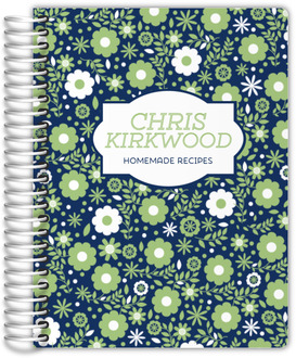 Green & White Floral Pattern Recipe Journal