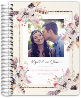Rustic Floral Feather Wedding Journal