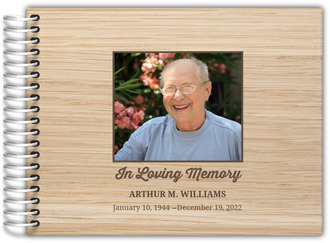 Light Woodgrain Photo Funeral Guest Book