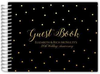 Black and Gold Dots Anniversary Guest Book