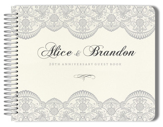 Lace and Gray Anniversary Guest Book