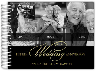 Black Gold Classic Photo Anniversary Guest Book