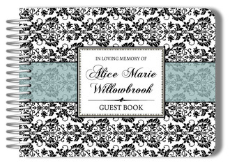 Black Damask Funeral Guest Book