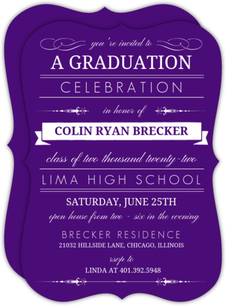 Blue Banner Graduation Invitation