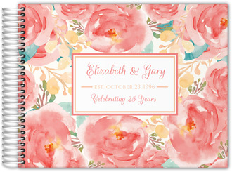 Pink Elegant Watercolor Flower Anniversary Guest Book
